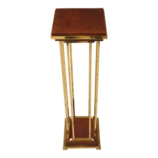 1970s Vintage Polished Brass and Wood Pedestal For Sale