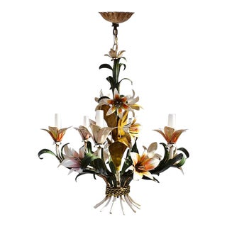 Tole 6 Light Floral Hard Wired Chandelier in the Style of Maison Baguès 1920s For Sale