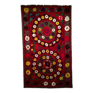 """1950s Vintage Silk Suzani- 4' 8 X 7' 8"""" For Sale"""