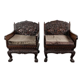 Hand-Carved Living Room Armchairs - a Pair For Sale