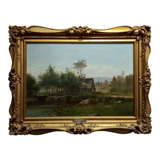 George Frank Higgins-The Old Mills-19th Century East Coast Landscape-Oil Painting For Sale