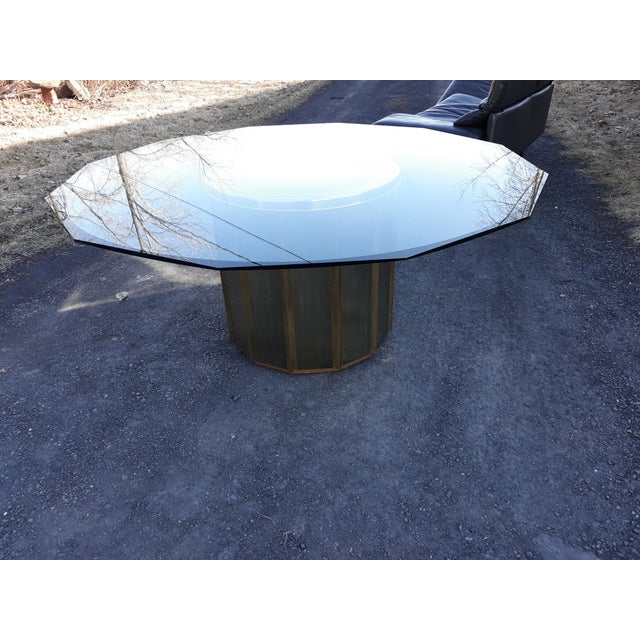 Mastercraft Brass Octagonal Shape Faceted Dining Table For Sale - Image 9 of 13