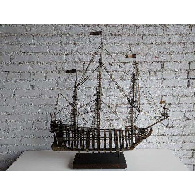 Metal Vintage Mid Century Brass Ship With Wood Base by Curtis Jere For Sale - Image 7 of 7