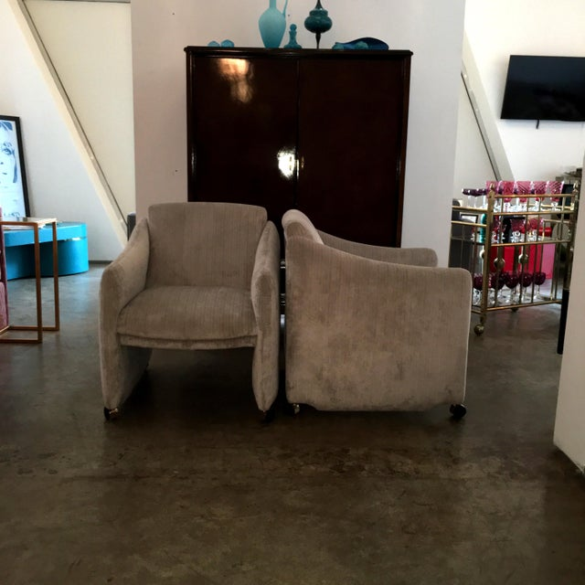 Pair of Milo Baughman Lounge Chairs on Casters Newly Upholstered in Velvet - Image 6 of 8