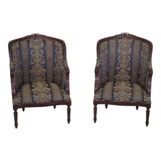 Brown Damask French Louis XV Style Carved Mahogany Bergere Chairs - A Pair For Sale
