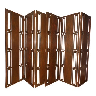 Vintage Mid Century Modern Solid Walnut 6 Panel Folding Screen Room Divider For Sale