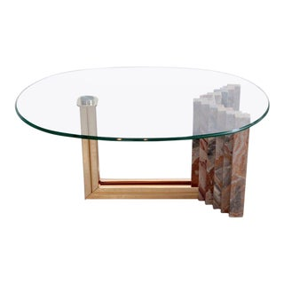 Italian 1970s Marble and Brass Coffee Table Attributed to Italo Valenti For Sale