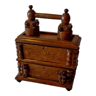 Early 20th Century French Tramp Art Carved and Stained Walnut Double Jewelry Box For Sale