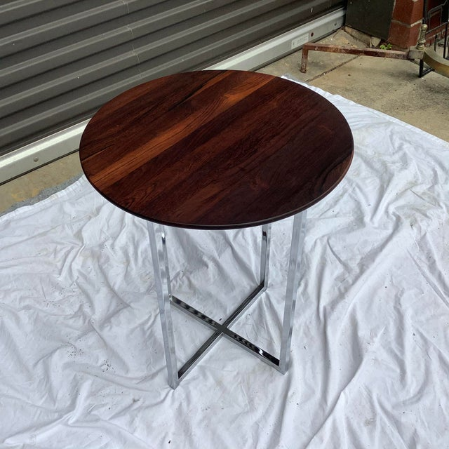 Midcentury Modern Rosewood & Chrome Drinks Table For Sale - Image 9 of 11
