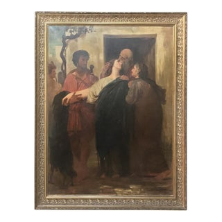 19th Century Framed Oil on Canvas ~ the Departure by G. Bribet For Sale