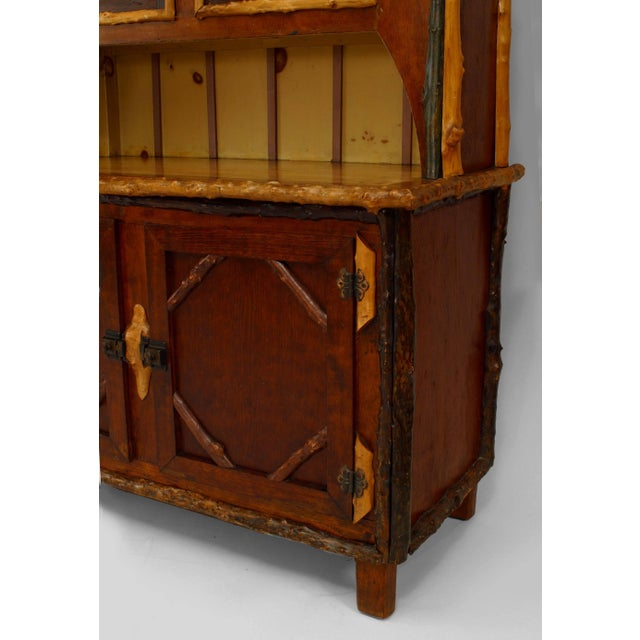 Rustic American Rustic Adirondack Style Painted Four-Door Cupboard, 19th-20th Century For Sale - Image 3 of 4