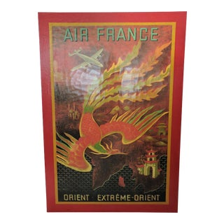 Large Vintage Lucien Boucher Air France 'Orient Extreme' Poster / Wall Hanging For Sale