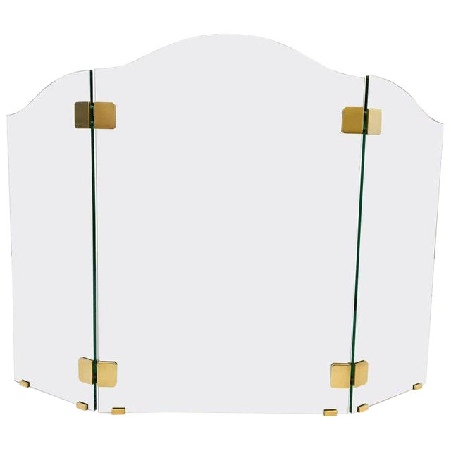 Brass and Glass Fireplace Screen by Pace For Sale