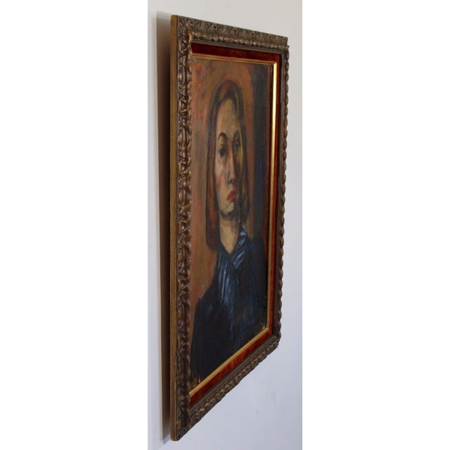 Mid-Century Modern Framed Oil on Canvas Portrait Painting Signed by Annette Dufresne For Sale - Image 3 of 10