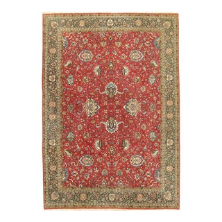 "Vintage Red Tabriz Hand Woven Rug 8'2"" X 11'6"" For Sale"