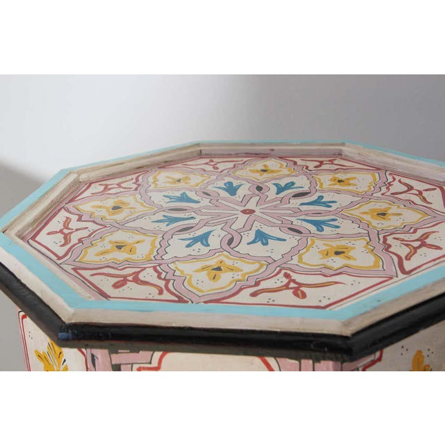 Light Pink Moroccan Hand Painted Side Tables - a Pair For Sale - Image 8 of 13