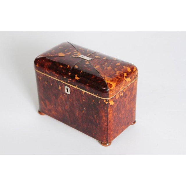 An English tortoise shell tea caddy. A rectangular shape with rounded corners and a domed lid with silver plaque initialed...