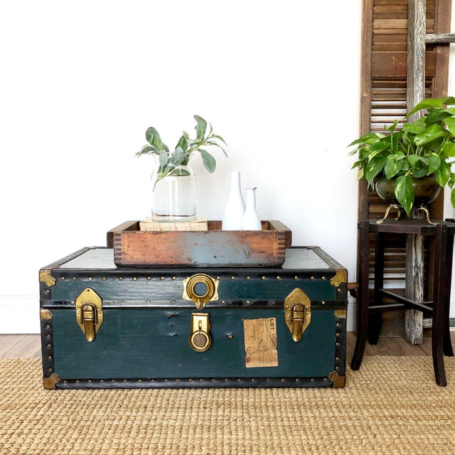 This vintage trunk will add function as well as history and a rustic vibe to your space. Let it serve you as a unique...