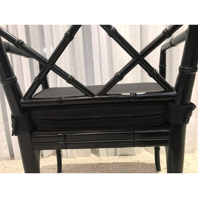 Wood Black Chippendale Arm Chairs with Detachable Cushions - Set of 4 For Sale - Image 7 of 13