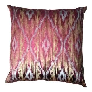 Velvet Ikat & Metallic Decorative Pillow