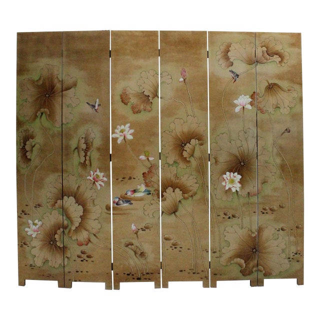 Chinese Golden Oriental Lotus Flower Birds Graphic Screen - Image 1 of 10