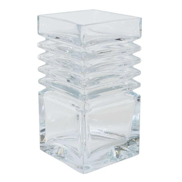Mid-Century Modernist Stepped Glass Vase by Harmoska For Sale - Image 9 of 9