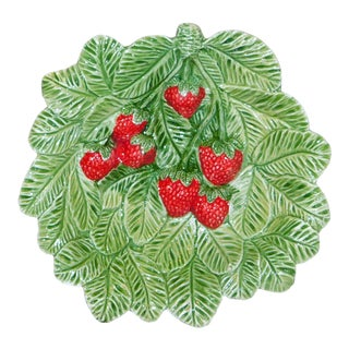 Green Italian Majolica Strawberry Bowl For Sale