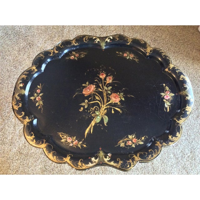 Late 19th Century Late 19th Century Antique Chinoiserie Faux Bamboo Paper Mache Table With Mother of Pearl Inlay After Jennens and Betridge For Sale - Image 5 of 11