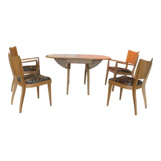 Mid-Century Heywood Wakefield Wishbone Extension Dining Table With Stingray Chairs & 2 Leaves For Sale
