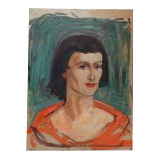 1950s Vintage Ejnar Hansen Oil on Board Portrait Painting For Sale