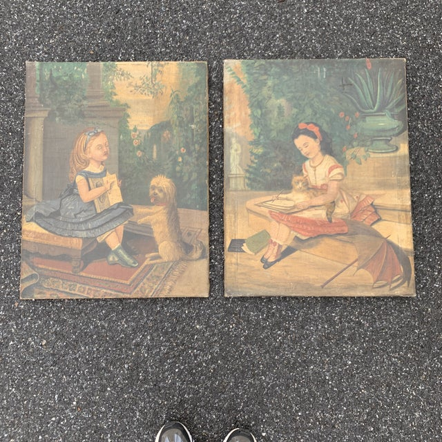 """19th CenturyFolk Art Paintings, """"Learning to Read and to Write"""" With a Dog and a Cat - a Pair For Sale - Image 13 of 13"""
