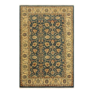 Istanbul Gilbert Teal/Ivory Turkish Hand-Knotted Rug -4'2 X 5'11