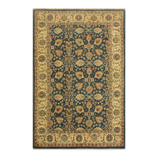 Shabby Chic Istanbul Gilbert Teal/Ivory Turkish Hand-Knotted Rug -4'2 X 5'11 For Sale