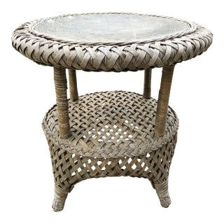 Vintage Heywood Wakefield Rattan Braided Side Table For Sale