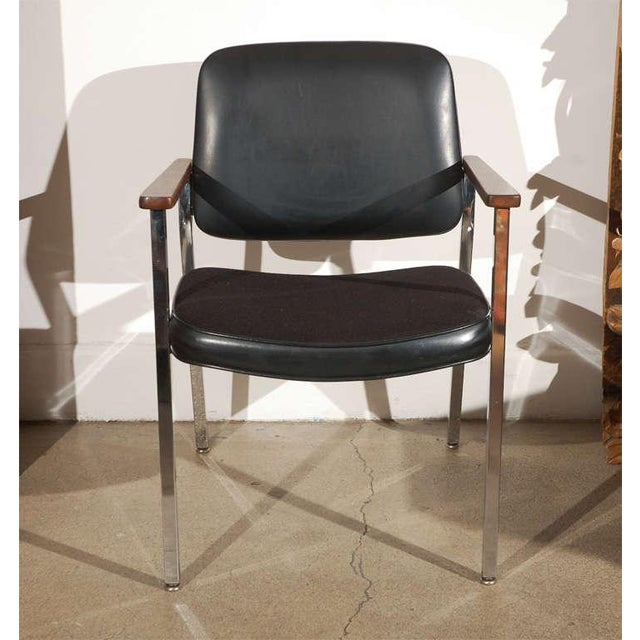 Pair of Bauhaus Chrome and Wood Black Armchairs For Sale - Image 9 of 10