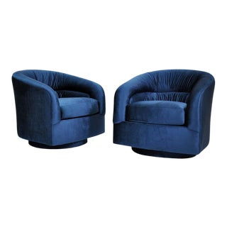 Milo Baughman for Thayer Coggin Blue Velvet Swivel Lounge Chairs - a Pai For Sale