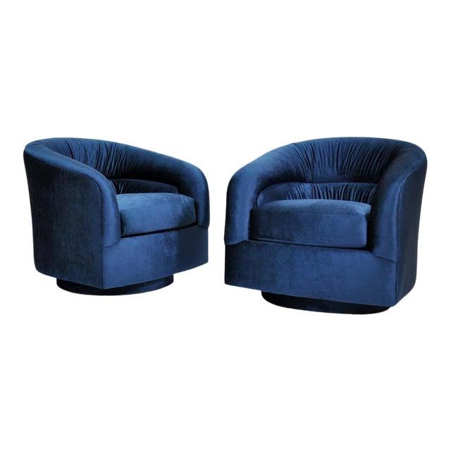 Milo Baughman for Thayer Coggin Blue Velvet Swivel Lounge Chairs - a Pai For Sale