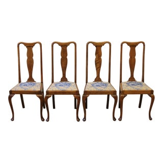 Early 20th Century Antique English Queen Anne Mahogany Dining Chairs- Set of 4 For Sale