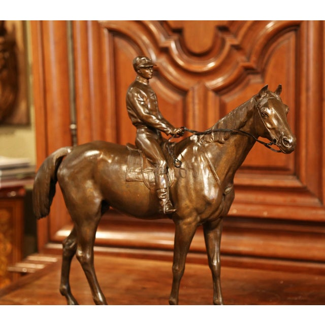 19th Century French Bronze Racehorse and Jockey Sculpture Signed Paul Comolera For Sale - Image 9 of 13