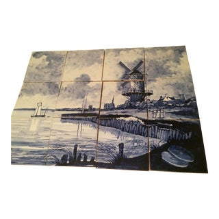 Scandinavian Hand Painted Delft Tile Mural - 12 Pieces For Sale