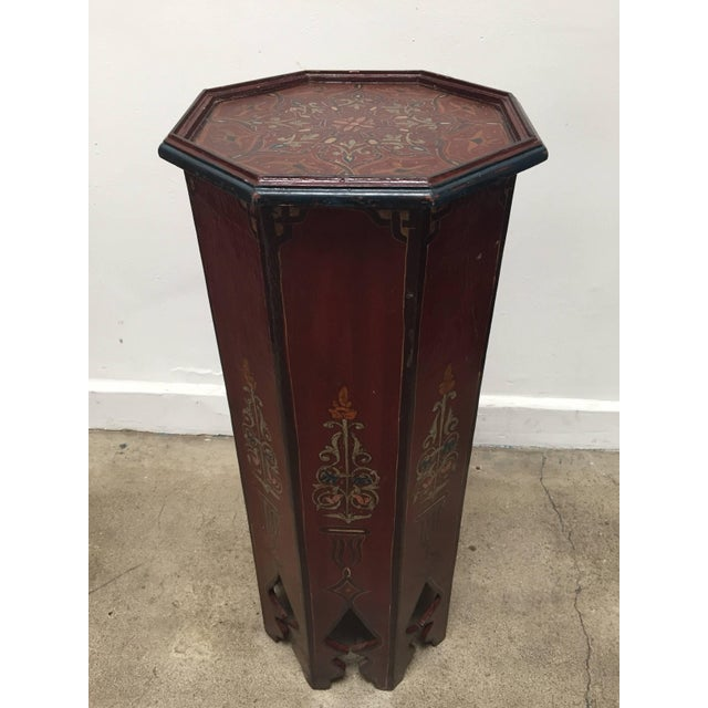 Islamic Hand-Painted Moroccan Pedestal Table For Sale - Image 3 of 13