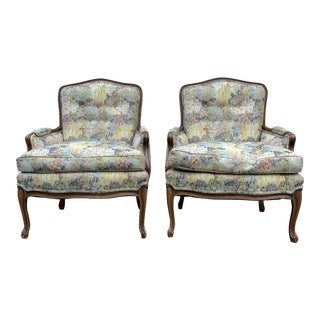 Antique Floral Wingback Chairs - a Pair For Sale
