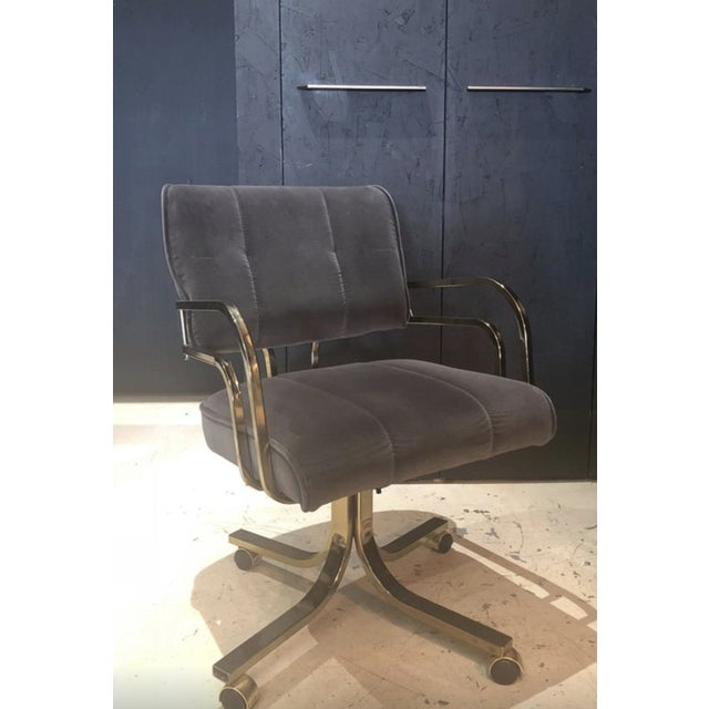 Set of Six Vintage Brass Office or Dining Chairs on Casters For Sale - Image 4 of 6
