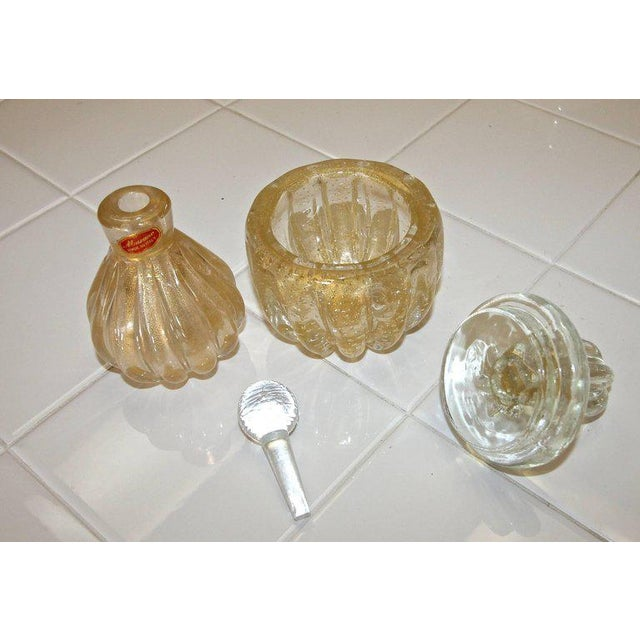 Gold Murano Gold Controlled Bubbles Perfume Bottle & Lidded Powder Jar For Sale - Image 8 of 10