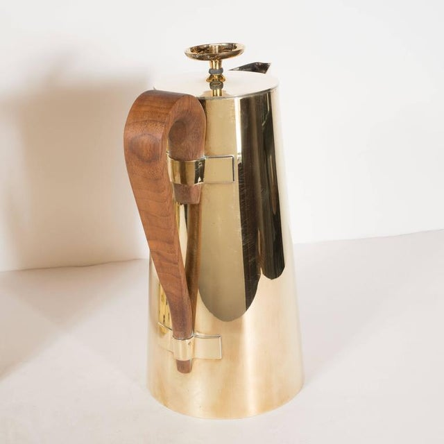 Brass Tommi Parzinger for Dorlyn Silversmiths Coffee/Tea Service in Brass and Walnut For Sale - Image 7 of 11