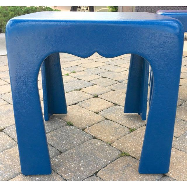 Vintage Blue Fiberglass Occasional Tables - A Pair For Sale - Image 9 of 13