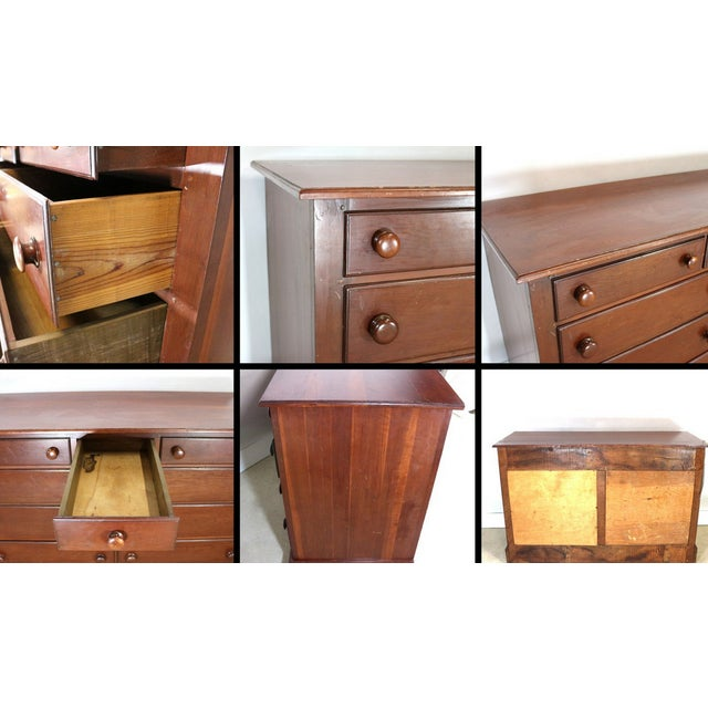 1940s Solid Wood Low Double Drawers Dresser - Image 4 of 4