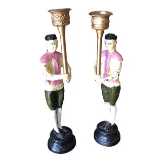 Vintage Handpainted Pink Asian Cast Iron Candleholders - a Pair For Sale