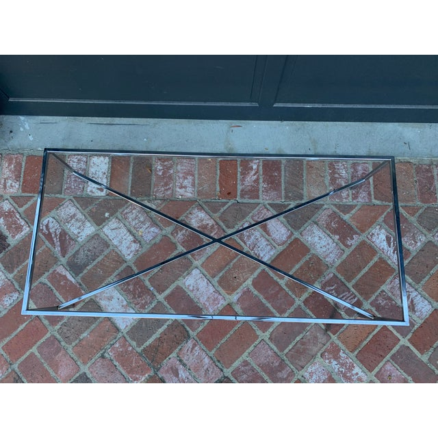 Mid-Century Modern Chrome and Glass Coffee Table For Sale - Image 4 of 5