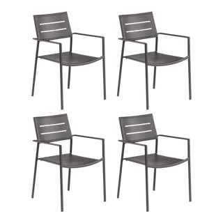 Aluminum Outdoor Arm Chair, Carbon, Set of 4 For Sale